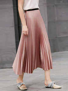 MINIMALISM MID-CALF PLEATED SKIRT MULTIPLE COLORS - impaviid