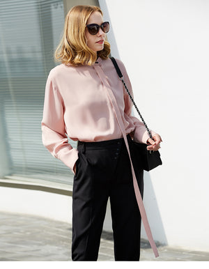MINIMALISM CHIFFON LACED UP OFFICE BLOUSE MULTIPLE COLORS - impaviid