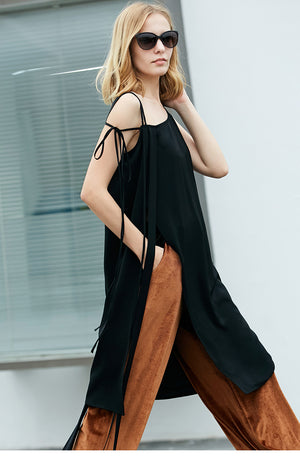 MINIMALISM KNEE-LONG WRAPPED CAMI TOP - impaviid