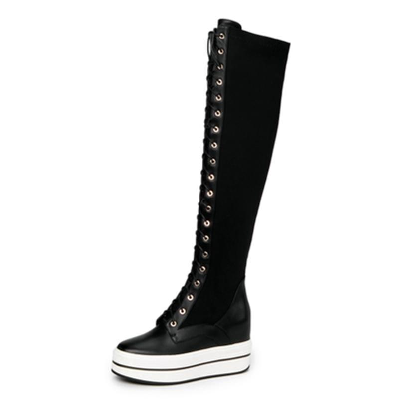 KNEE HIGH PLATFORM LACED UP BOOTS CRUELTY-FREE - impaviid