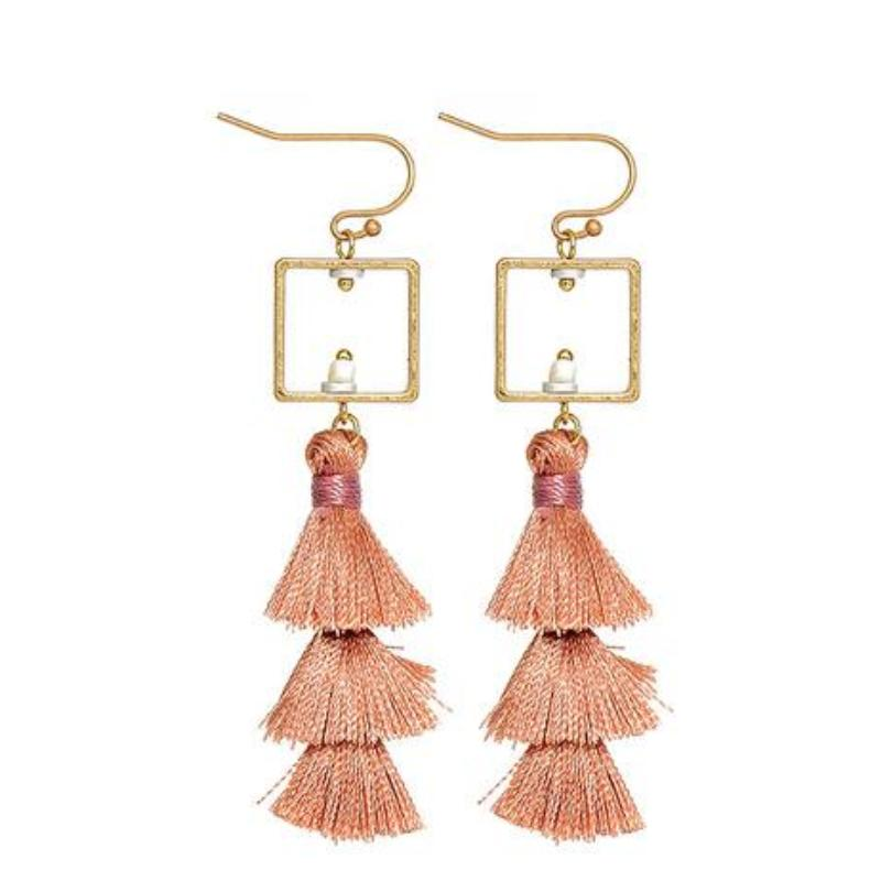 PINK LAYERED TASSEL / FRINGE EARRINGS - impaviid