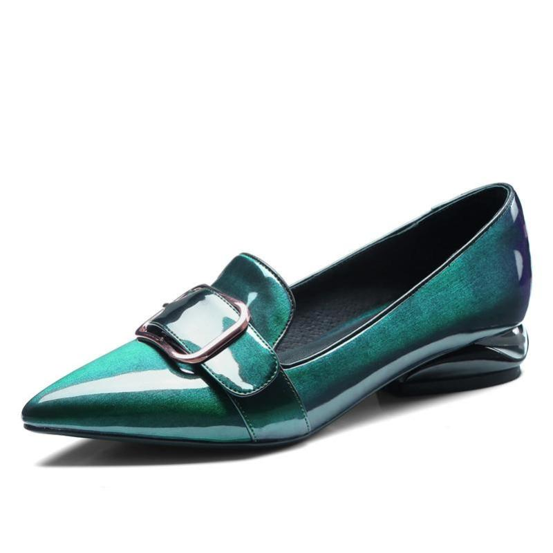POINTED TOE GREEN LOAFERS CRUELTY-FREE - impaviid