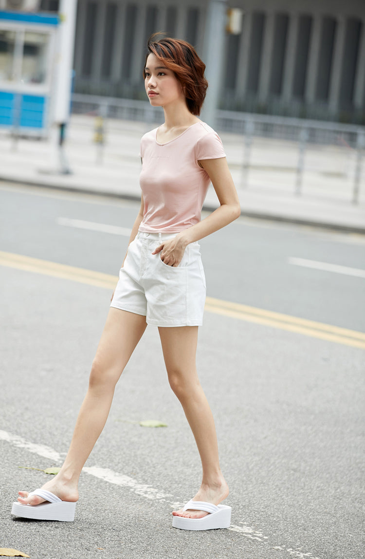 MINIMALISM CASUAL CROPPED T-SHIRT MULTIPLE COLORS - impaviid