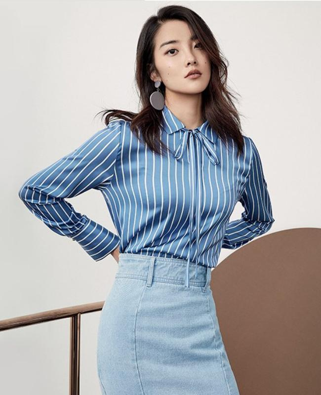BLUE STRIPPED CHIFFON FORMAL BLOUSE - IMPAVIID