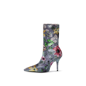 EMBROIDERED MID-CALF SOCKS BOOTS CRUELTY-FREE - impaviid