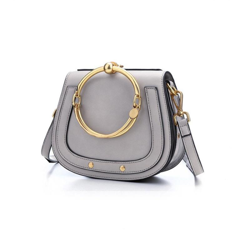 MEDIUM METAL RING HAND BAG VEGAN LEATHER