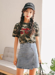 CASUAL HIGH WAISTED DENIM MINI SKIRT - IMPAVIID