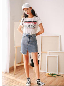 ASYMMETRICAL RIPPED AND WASHED DENIM MINI SKIRT - IMPAVIID