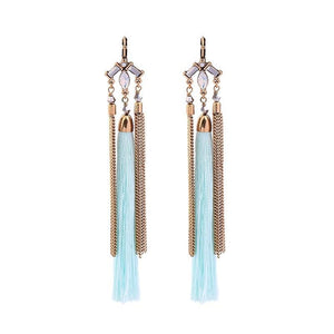 BLUE FRINGE TASSEL EARRINGS - IMPAVIID