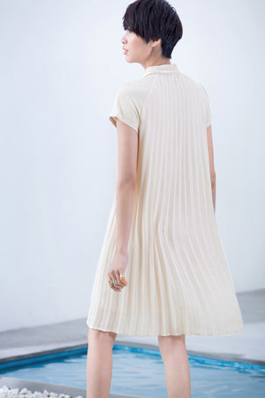 MINIMALISM DRAPPED SHIRT STYLED DRESS - impaviid