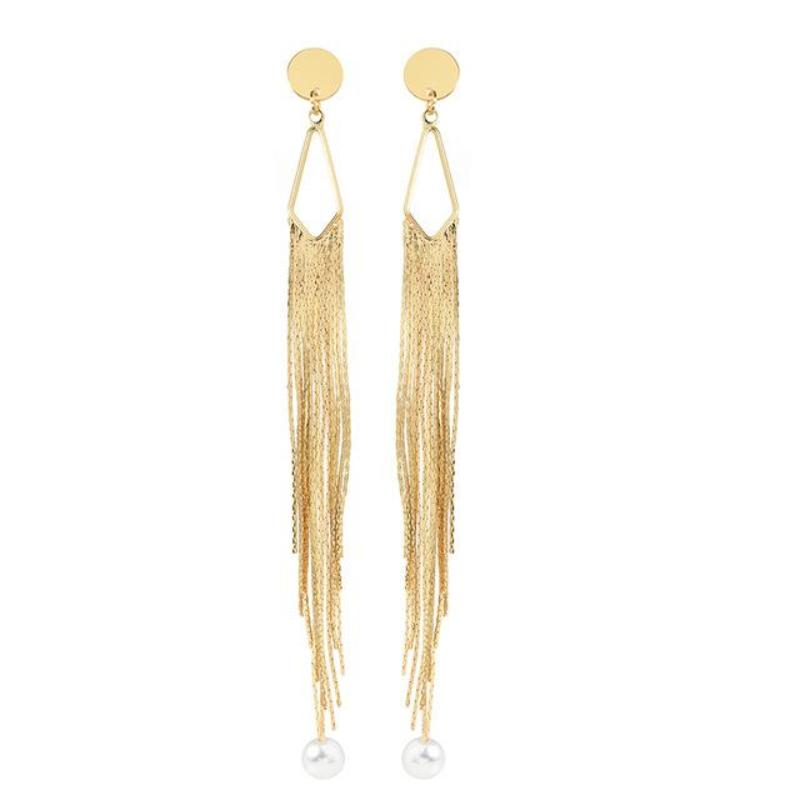 GOLD TASSEL DROP EARRINGS - impaviid