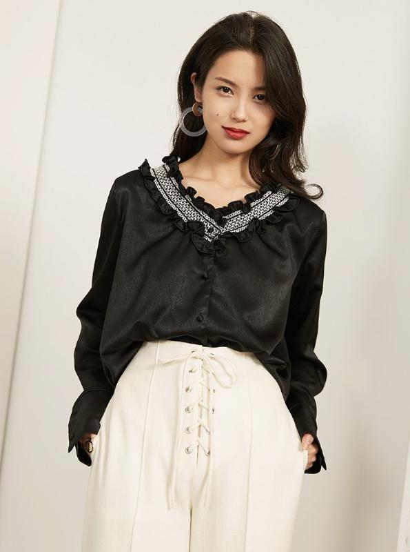 BLACK OFF-SHOULDER CHIFFON BLOUSE - IMPAVIID