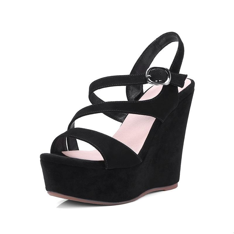 BLACK SUEDE WEDGED SANDALS CRUELTY-FREE - 임피 비드