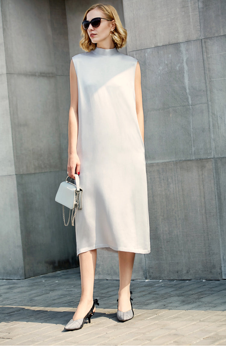 MINIMALISM MIDI DRESS WITH BACK BEADING AND SCARFT 2 COLORS - impaviid
