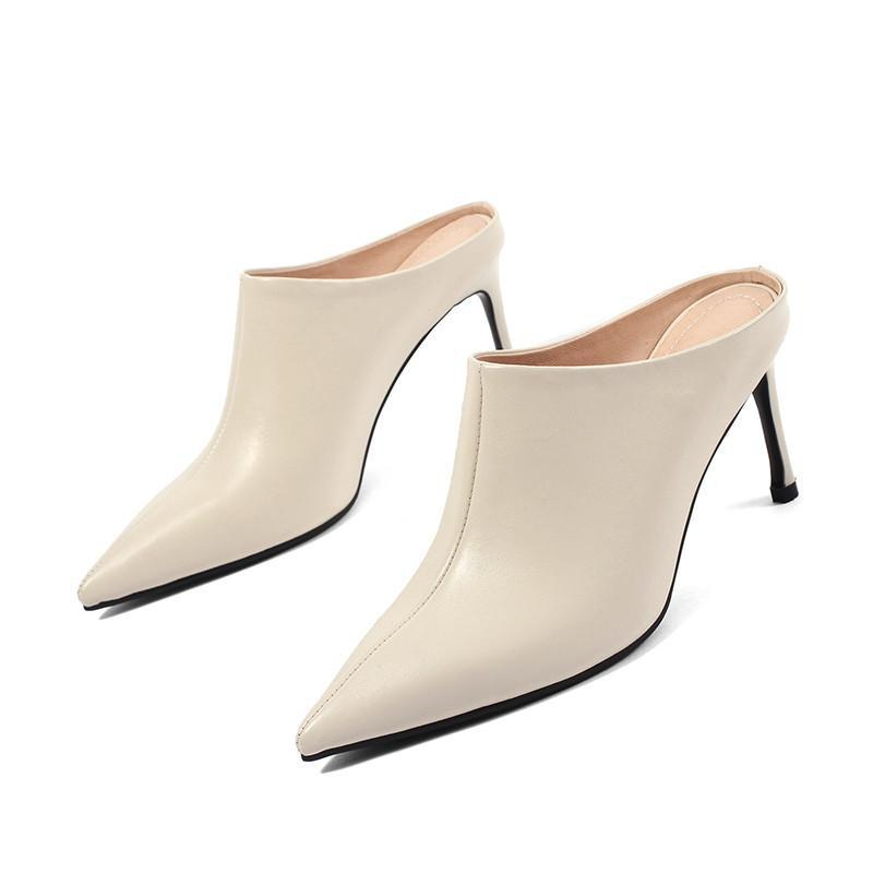 POINTED TOE MULES ON HIGH HEEL CRUELTY-FREE - impaviid