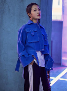 90'S INSPIRED CROPPED OVERSIZED BLUE JACKET - IMPAVIID