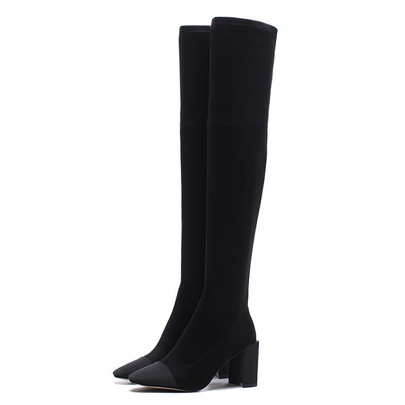 SLIM FIT STRECHABLE OVER THE KNEE BLACK BOOTS CRUELTY-FREE - impaviid
