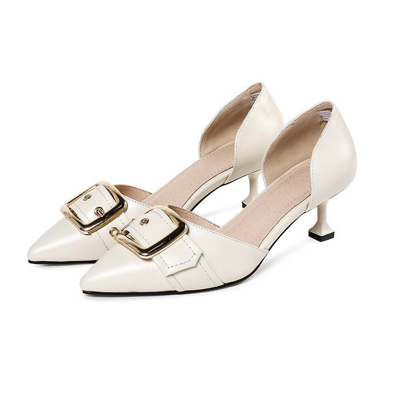 KITTEN HEEL POINTED TOE HEELS WITH A BUCKLE CRUELTY-FREE - impaviid