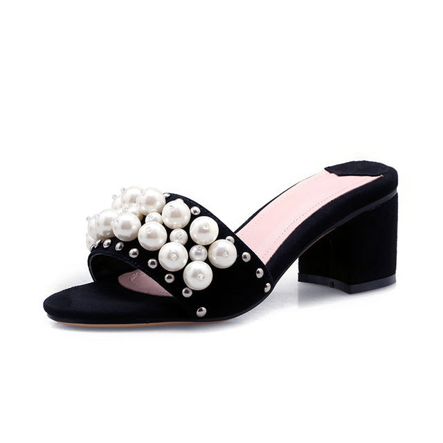 SUEDE MULES WITH EMBELLISHED FAUX PEARLS CRUELTY-FREE - impaviid