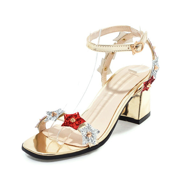 METALLIC SANDALS WITH STARS DETAILS CRUELTY-FREE - impaviid