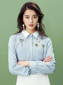 EMBROIDERED BLUE BUSINESS BLOUSE - impaviid