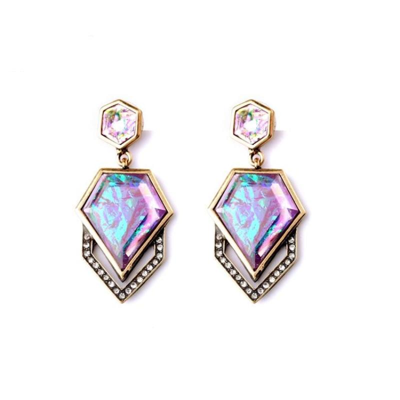 GEOMETRIC RAINBOW COLOR EARRINGS - impaviid