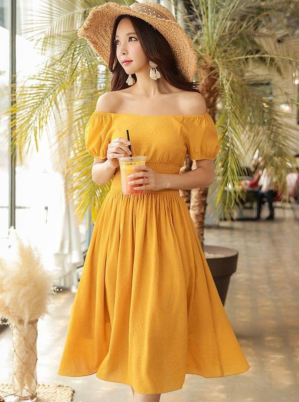 YELLOW OF THE SHOULDER MIDI DRESS