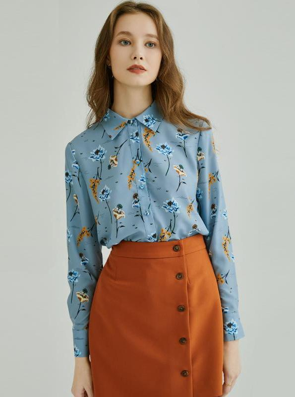 BLUE FLORAL CHIFFON FORMAL BLOUSE - IMPAVIID