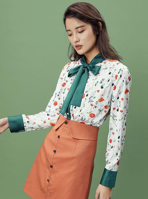 FLORAL PATTERN GREEN CHIFFON FORMAL BLOUSE WITH A BOW - impaviid