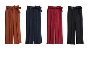 MINIMALISM HIGH WAISTED WIDE LEGGED CROPPED PANTS MULTIPLE COLORS - impaviid