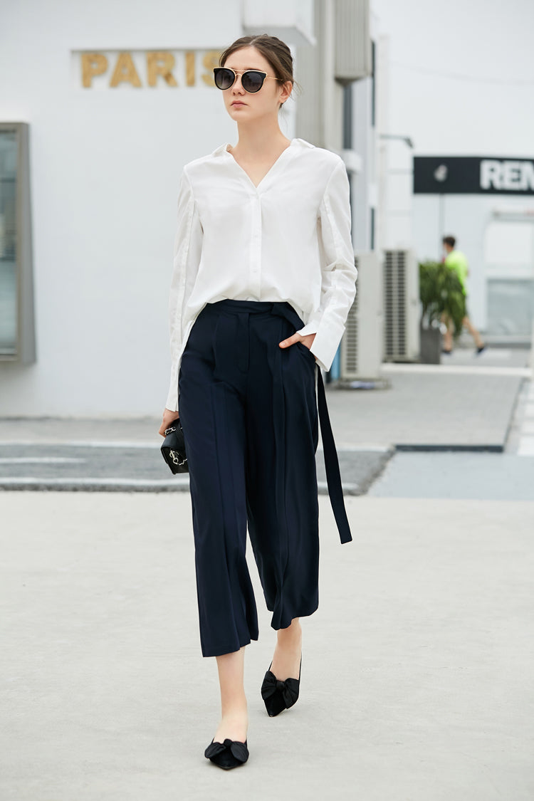 MINIMALISM PLEATED WIDE LEGGED CROPED PANTS MULTIPLE COLORS - impaviid