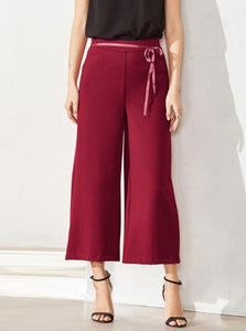 MINIMALISM WIDE LEGGED ANKLE LENGTH PANTS MULTIPLE COLORS - impaviid