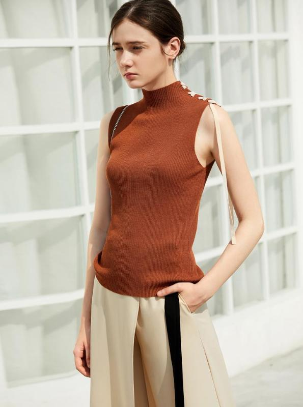 MINIMALISM KNITTED SLEEVELESS HALF-TURTLENECK MULTIPLECOLORS - impaviid
