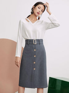 KNEE LONG BELTED OFFICE PENCIL SKIRT - impaviid