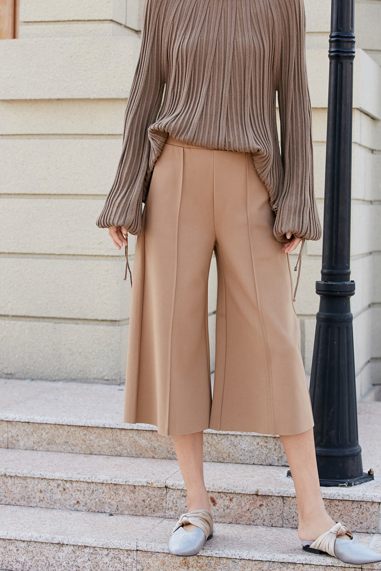 MINIMALISM KNITTED CROPPED WIDE LEG PANTS 3 COLORS - impaviid