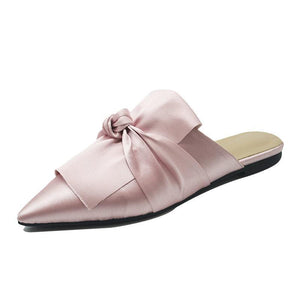 PINK FRONT BOW SILK FLAT MULES CRUELTY-FREE - impaviide