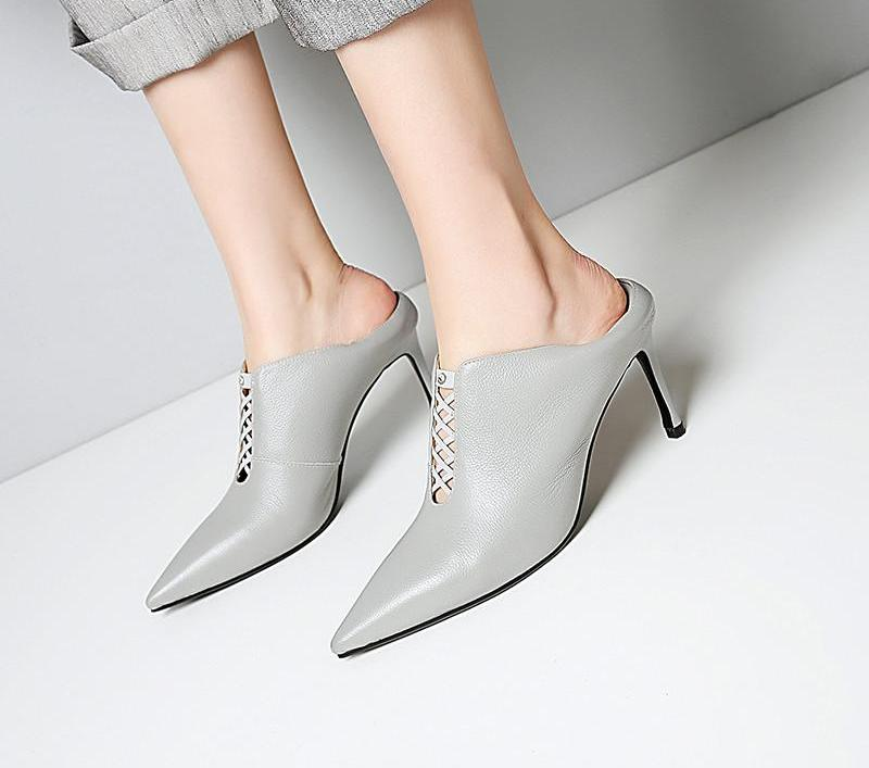 POINTED TOE MULES ON A HEEL CRUELTY-FREE LEATHER 3 COLORS - impaviid