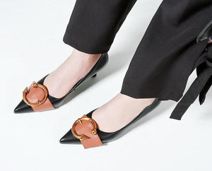 BUCKLE & BELT KITTEN HEELS CRUELTY-FREE LEATHER - IMPAVIID