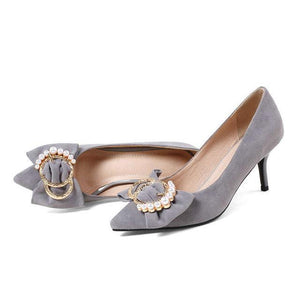 SUEDE HEELS WITH BOW AND BEADS 3 COLORS CRUELTY-FREE - impaviid