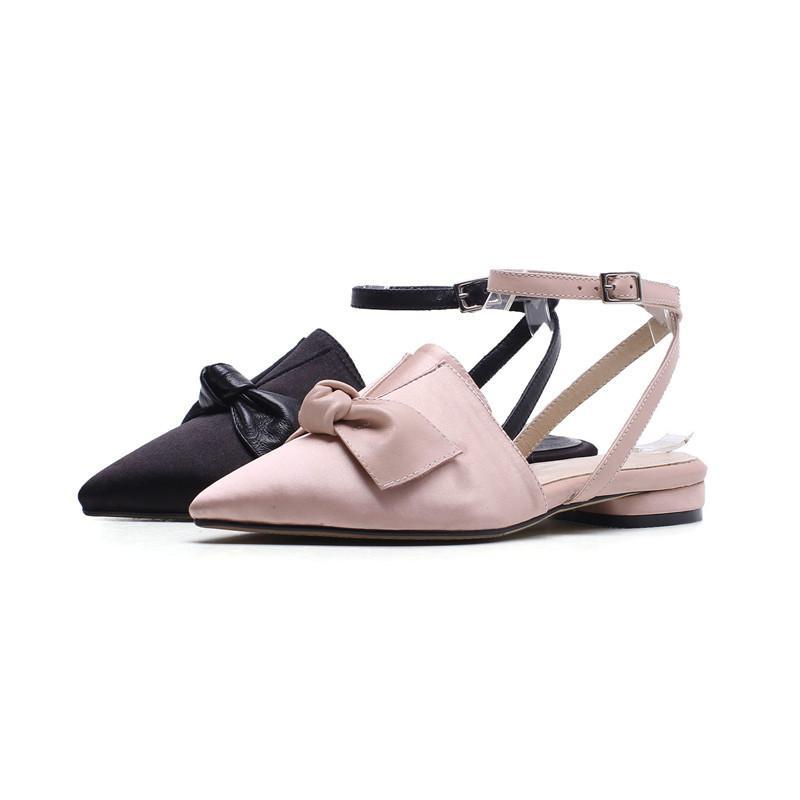 FLAT BUTTERFLY KNOT SANDALS CRUELTY-FREE LEATHER - impaviid
