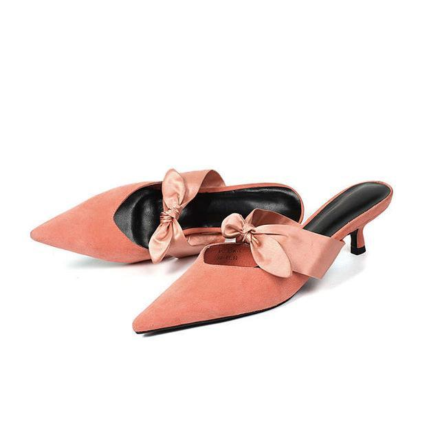 POINTED TOE SUEDE MULES WITH A BUTTERFLY BOW CRUELTY-FREE - impaviid