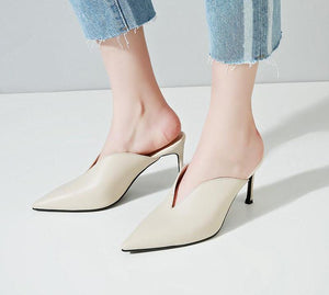 POINTED TOE MULES ON HIGH HEEL WITH A SLIT CRUELTY-FREE 2 COLORS - impaviid