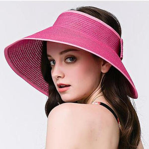 FOLDABLE STRAW HAT / STRAW VISOR MULTIPLE COLORS - impaviid