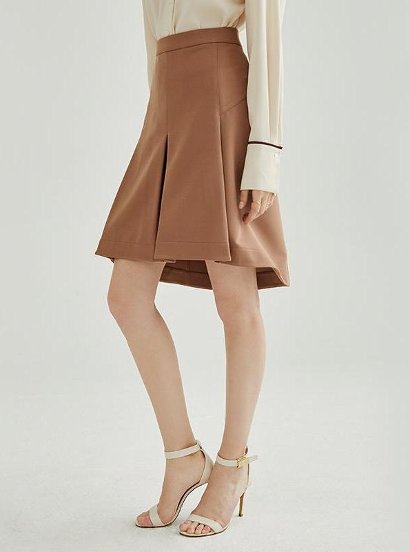 BROWN PLEATED KNEE-LONG SKIRT - IMPAVIID