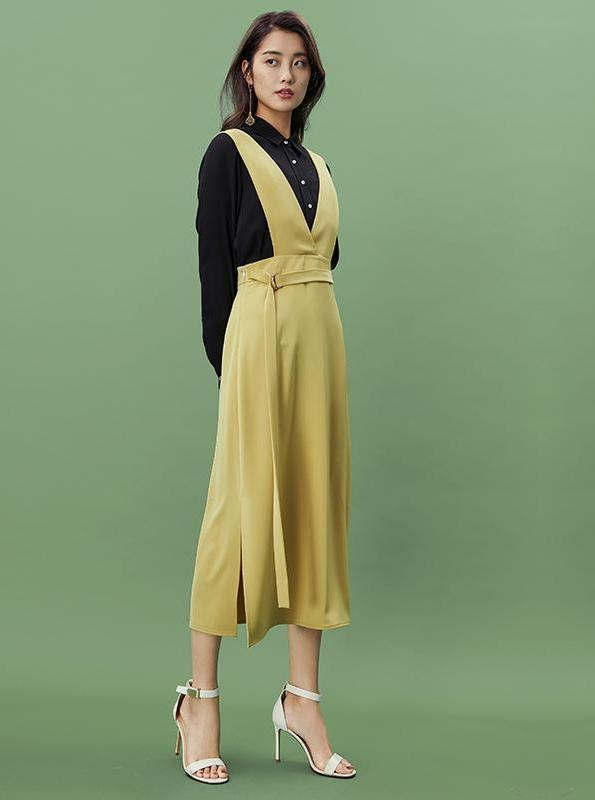 YELLOW MIDI OVERALLS SKIRT - impaviid