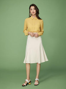 BEIGE KNEE-LONG A-LINE SKIRT - IMPAVIID