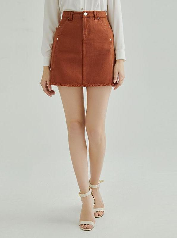 ORANGE DENIM MINI SKIRT KOREAN DESIGN - impaviid