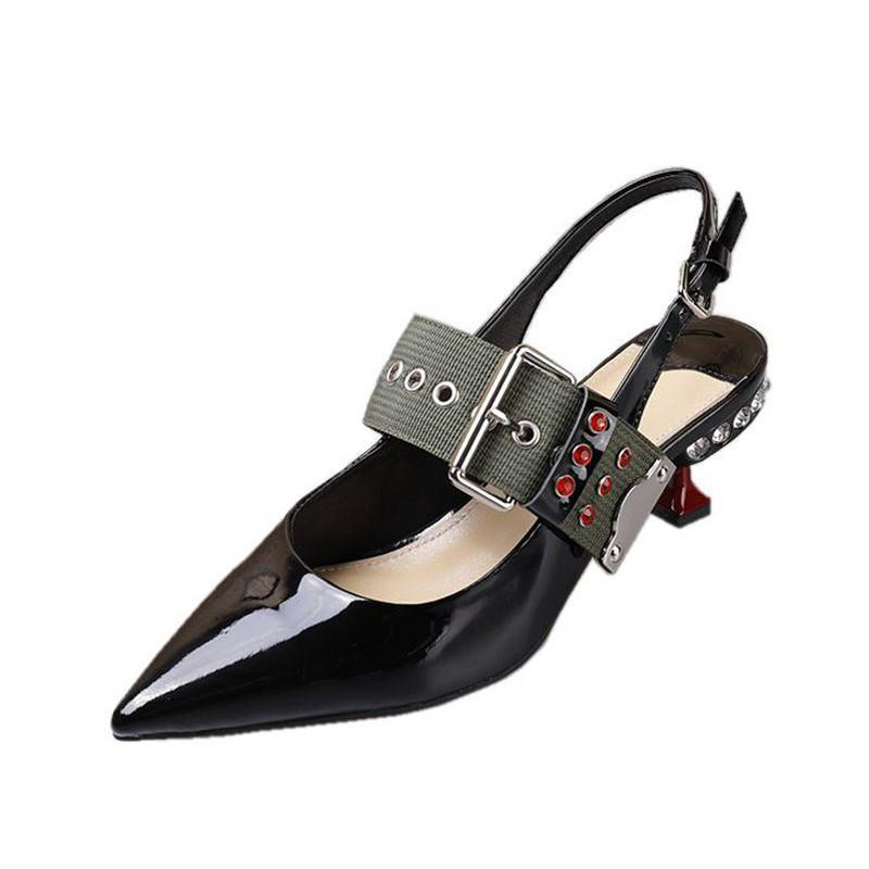 KITTEN HEEL SLINGBACK MULES WITH BUCKLES CRUELTY-FREE - impaviid