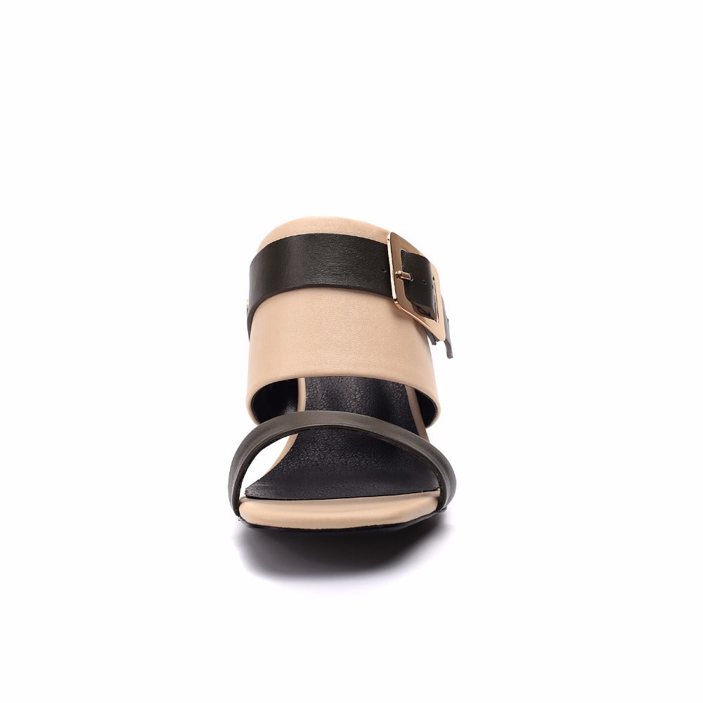HIGH HEEL MULES WITH A BUCKLE AND OPEN TOES CRUELTY-FREE - impaviid