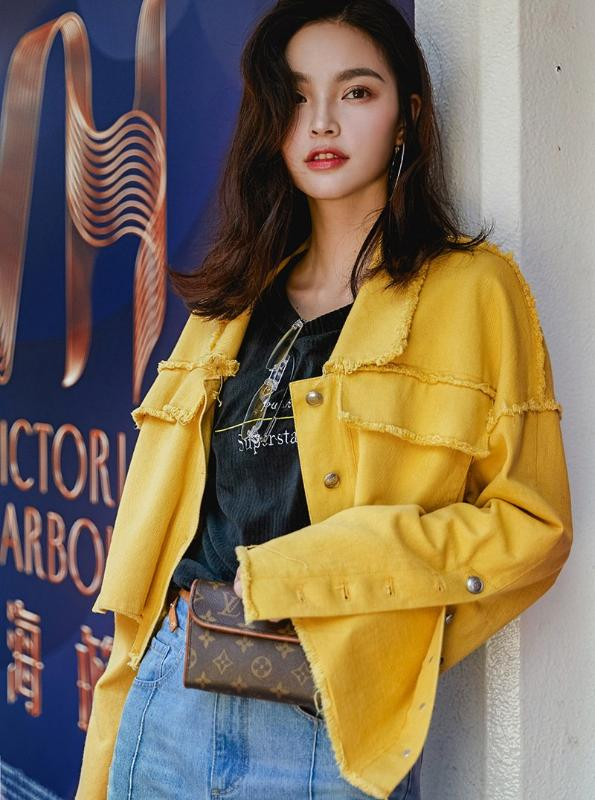 CASUAL YELLOW RIPPED DENIM JACKET KOREAN DESIGN